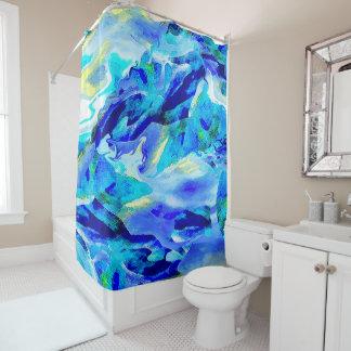 Montanha abstrata na cortina de chá azul cortina para box