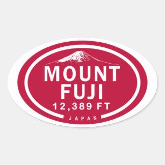 Montanha de Monte Fuji 12.389 FT Japão Adesivo Oval