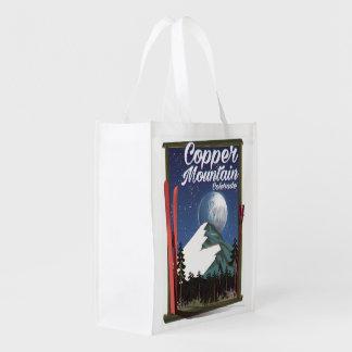 Montanha do cobre do poster de viagens de Colorado Sacolas Ecológicas Para Supermercado
