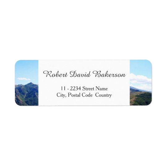 Montanha, fotografia da paisagem do céu etiqueta endereço de retorno