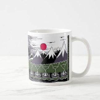 Montanhas e árvores caneca