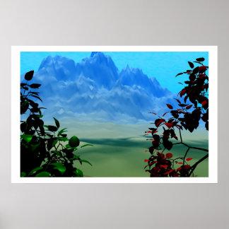 Montanhas e paisagem das árvores do firery poster