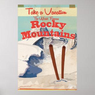 Montanhas rochosas, poster das viagens vintage dos