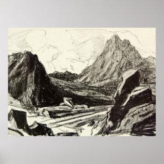 Monte antigo de Scotland Arran da paisagem do vint Poster