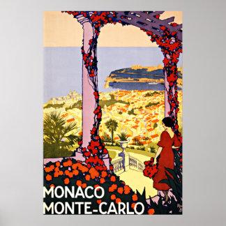 Monte - Carlo, viagens vintage de Monaco Poster