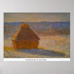 Monte de feno na neve por Claude Monet Impressão