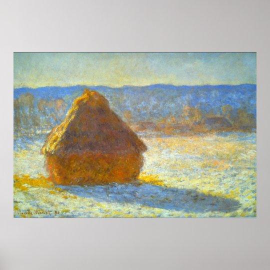 Monte de feno na neve por Claude Monet Pôster