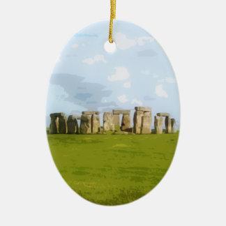 Monumento de pedra do círculo de Stonehenge Ornamento De Cerâmica Oval