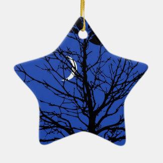 Moonscape nos azuis cobaltos e no preto ornamento de cerâmica estrela