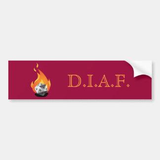 Morra em um fogo (D.I.A.F) Adesivo Para Carro