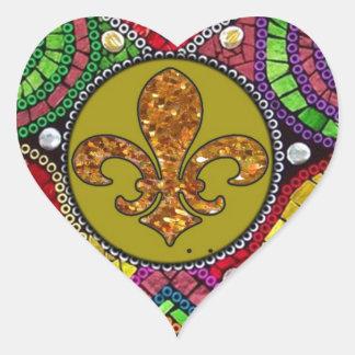 Mosaico abstrato do azulejo da flor de lis adesivo coração