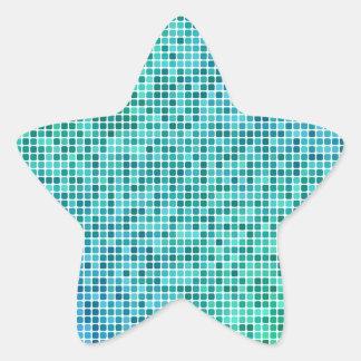Mosaico azul verde do pixel adesivo em forma de estrela