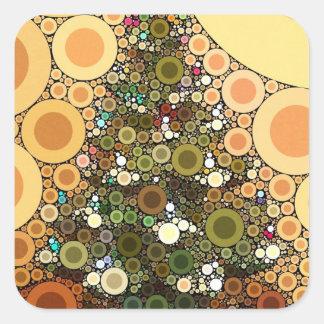 Mosaico do círculo da árvore de Natal boas festas Adesivo Quadrado