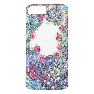 Mosca alta, teste padrão raro da flor azul capa iPhone 8 plus/7 plus