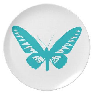 Mosca da borboleta de turquesa, lagarta, teste prato