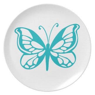 Mosca da borboleta de turquesa, lagarta, teste prato de festa