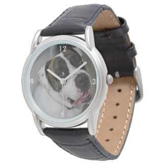 Mostra Clássico couro preto a personalizar Relógio De Pulso