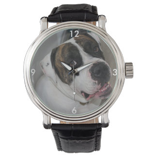 Mostra Couro vintage preto a personalizar Relógio