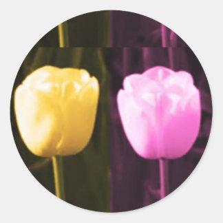 Mostra de flor da TULIPA Adesivos Em Formato Redondos