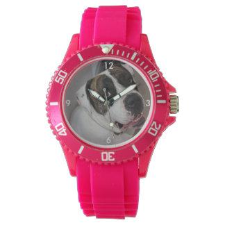 Mostra Desportista silicon rosa a personalizar Relógio De Pulso