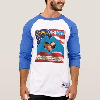 MOSTRE de t-shirt azul da luva dos homens do AMOR