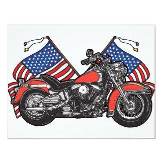 Motocicleta patriótica das bandeiras americanas convite 10.79 x 13.97cm