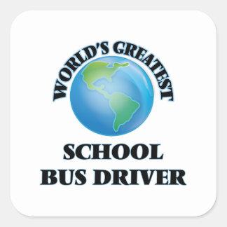 Motorista de auto escolar do mundo o grande adesivo quadrado