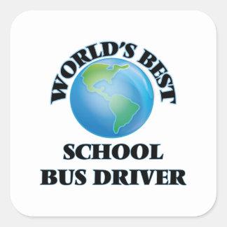 Motorista de auto escolar do mundo o melhor adesivo quadrado
