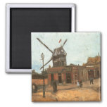 Moulin de la Galette por Vincent van Gogh, moinho Ímã Quadrado