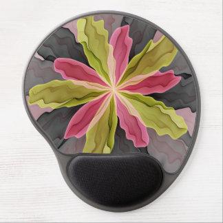 Mouse Pad De Gel Alegria, Fractal antracífero verde da flor da