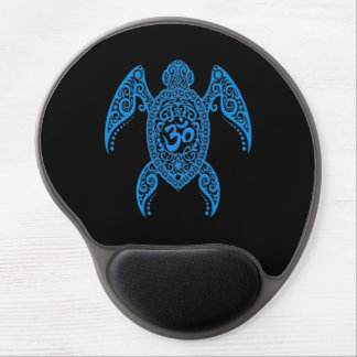 Mouse Pad De Gel Tartaruga de mar azul do OM no preto