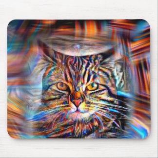 Mousepad À deriva no gato abstrato da revolução das cores