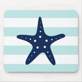 Mousepad A hortelã azul branca listra a estrela do mar
