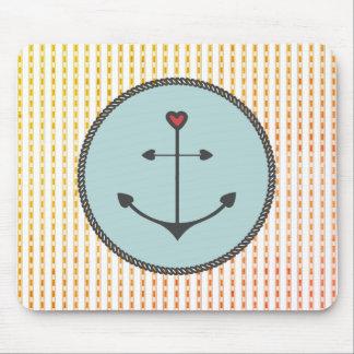 Mousepad Anchor_Heart_Blue Aqua__Peachy-Checks_