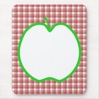 Mousepad Apple verde com teste padrão vermelho e branco da