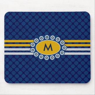 Mousepad Azul do monograma de quatro listras e ouro ID207