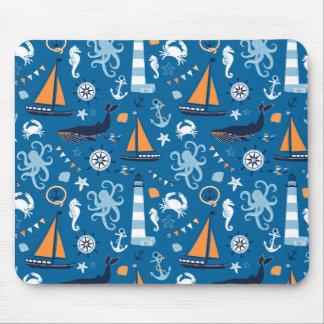 Mousepad Azul profundo todas as coisas náuticas
