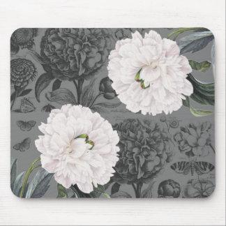Mousepad Cinza romântico da peônia branca