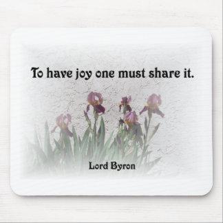Mousepad Citações da alegria da parte com íris roxas
