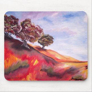 Mousepad com pintura de paisagem vermelha da árvor