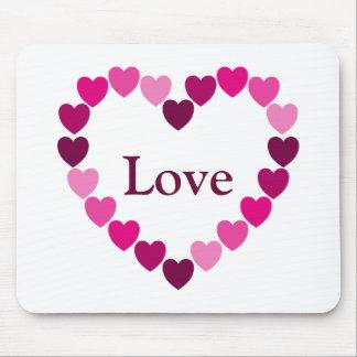 Mousepad cor-de-rosa do coração dos corações