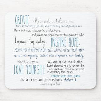 Mousepad criar. inspire. amor. Tapete do rato