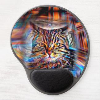 Mousepad De Gel À deriva no gato abstrato da revolução das cores