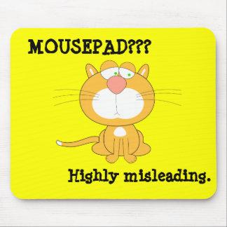 Mousepad engraçado com gato triste