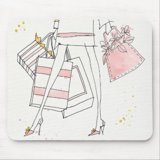 Mousepad Esboço cor-de-rosa moderno selvagem da forma de