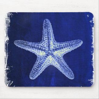Mousepad estrela do mar azul náutica rústica da praia