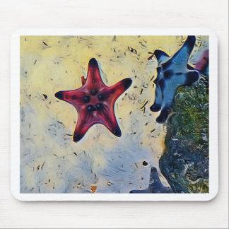 Mousepad Estrela do mar azul vermelha artística na areia