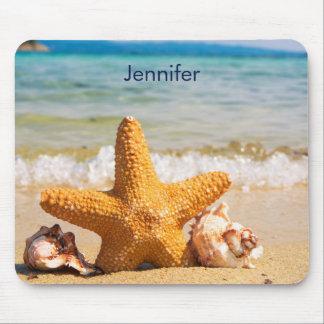 Mousepad Estrela do mar e Seashells na praia personalizada