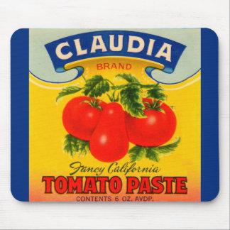 Mousepad etiqueta da pasta de tomate de Claudia dos anos 30