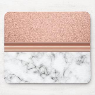 Mousepad Folha de ouro cor-de-rosa no mármore